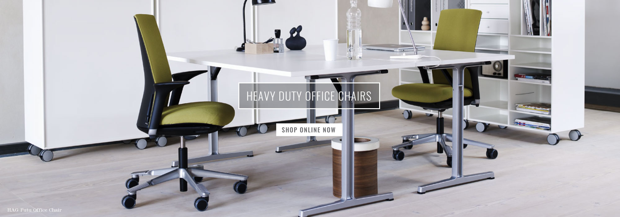 Green HAG futu office chairs in a contemporary office